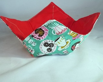 Reversible Microwave Bowl Cozy, Quilted Hot Pad, 100% Cotton, Tea and Cupcakes Fabric, Red and Turquoise fabric