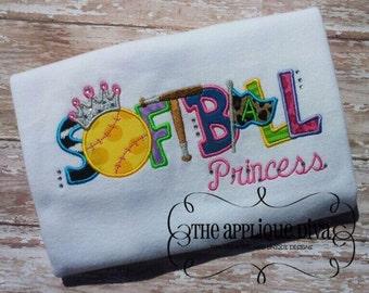 Summer Softball Princess Digital Embroidery Design Machine Applique