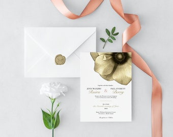 Botanical Wedding Invitation Set Instant Download