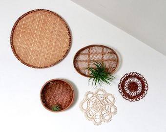 Vintage Boho Wall Baskets Set /Boho Wall Decor /Beachy Wall Basket Set /Instant Basket Collection /Boho Decor/Shell Trivet Set/Beach Chic
