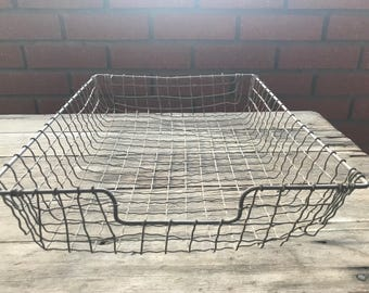 Wire File Basket Vintage 1940's Industrial Mid Century Office