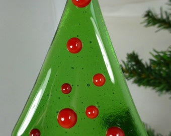 Fused Glass Christmas Tree in Green with Red glass bauble decorations and a red base