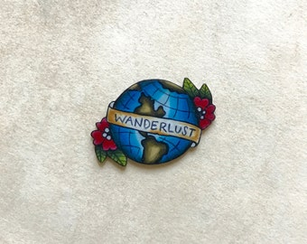 WickedMinky Wanderlust Global Travel Tattoo Lapel Pin Pinback Button Brooche World Banner Flowers