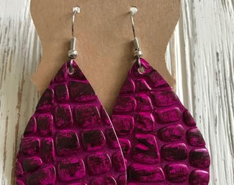 Fun purple and black alligator textured leather earrings | gifts for her | leather teardrop earrings | alligator embossed leather