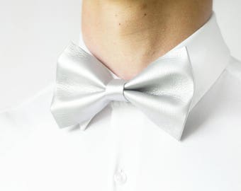 Handmade Modern Elegant Minimalistic Faux Leather Bow Tie, Anniversary Gift, Wedding Bow Tie, Graduation Bow Tie, Men's Bow Tie, Adjustable