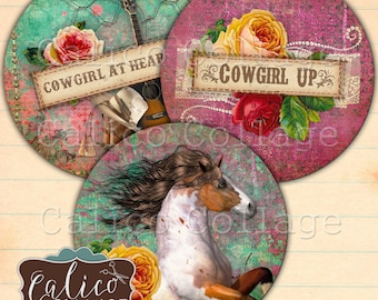 2.5 Inch Circles, Gypsy Cowgirl, Pocket Mirror Images, Horses, Cowgirls, Country, alico Collage, Digital Images, Digital, Collage Sheet