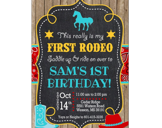 Boy or Girl Invitation Rodeo Horse Bandana Rustic Birthday Party - Can personalize colors /wording - Printable File or Printed Cards