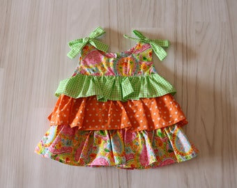 4T Ruffle It Up Tunic Top in Orange and Green