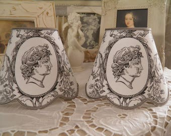small Lampshade for appliques and chandelier toile de jouy patterns white Baroque