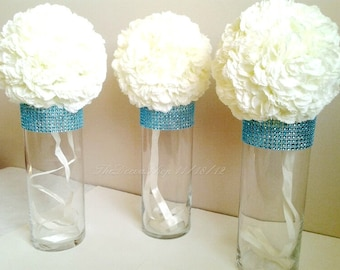 Centerpiece Cylinder Vases - Turquoise Teal Bling Rhinestone Glass Vases- Wedding Centerpieces - Bridal Shower Table Decor 4 Pcs