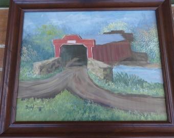 Vintage original signed painting Biehl Kutztown Berks covered bridge Pennsylvania art
