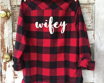 WIFEY flannel, custom flannel, bride, bachelorette party, wifey, fall wedding, buffalo plaid, bachelorette flannel, bride gift
