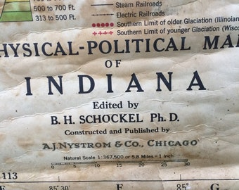 Vintage Pull Down Physical-Political Map of Indiana by A. J. Nystrom & Co., Chicago, Illinois