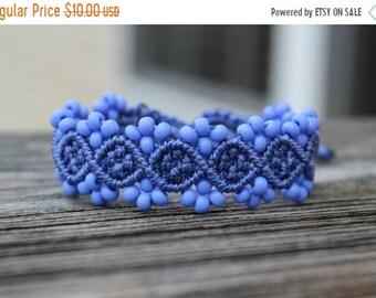 SALE Micro-Macrame Beaded Bracelet - Medium Blue