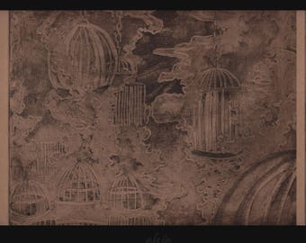 "Original Etched Intaglio Print ""Burning BirdCages"" in brown"