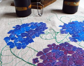 Linen wedding table runner, floral embroidered table runners, textile art, longe pure linen tablecloth, purple wedding table decor hydrangea