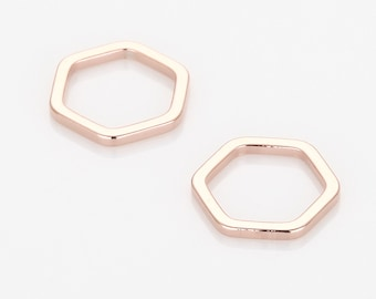 Hexagon Pendant, Geometric jewelry Supplies Matte Rose Gold- Plated - 4 Pieces [P0572-MRG]
