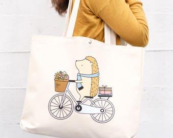 Hedgehog Tote Bag - Cream | hedgehog bag - book tote - cute bag
