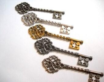 Skeleton Key Pendants Bulk Skeleton Keys Wholesale Keys Weddings Keys Assorted Gold Silver Copper Bronze Gunmetal 68mm 20pcs