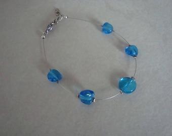 Blue glass beaded women bracelet
