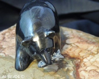Black Grizzly Bear with Fish Fetish Black Marble from Utah