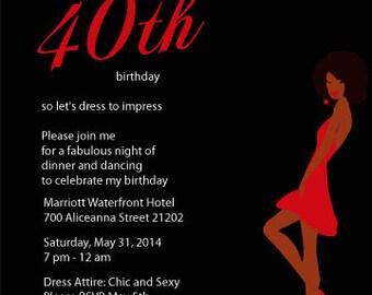 Set of African American Birthday Invitations