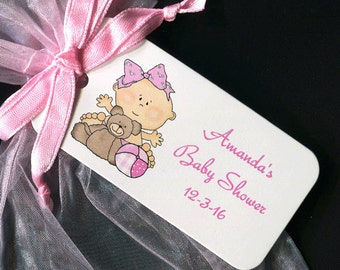Baby Shower Favor Tags - Baby Girl Favor Tags - Personalized - Baby Girl Shower - Gift Tags - Thank You Tags - Baby Girl With Teddy And Ball