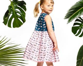 Handmade girls' hippo dress, girls' summer dress