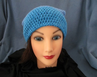Crocheted Large Color Block Slouchy Beanie Cap Made with Caron Cake Yarn