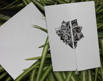 Hand Printed Succulent Gatefold Cards