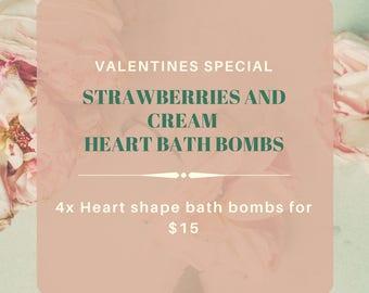 strawberry & cream heart bath bomb, natural bath bomb, handmade bath bombs, bath fizzy, bath bomb, spa bath