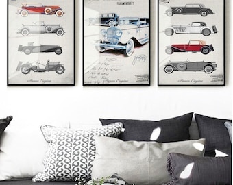 set of 6 prints, retro car print, Print Vintage Retro Van Print Retro Car Print Van Poster Van Decor Printable art retro Digital prints