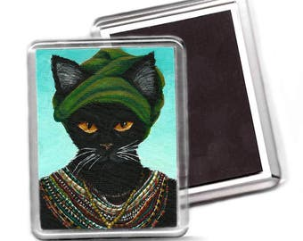 Black Cat Magnet Native African Cat in Turban and Colorful Beaded Necklace Fridge Magnet