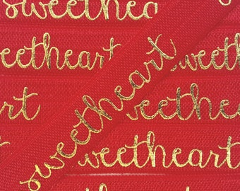 5/8 RED SWEETHEART Gold Foil Fold Over Elastic