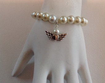 GIRL'S ANGEL and PEARL Bracelet, First Holy Communion, Flower Girl, Girl's Bracelet, 3-6 Year Old