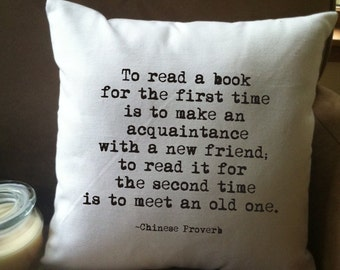 to read a book for the first time throw pillow cover, book lover quote pillow