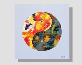 """Peinture abstraite à l'huile sur toile. """"Nostalgie"""", tableau peinture yin yang coloré, home décor zen, art mural contemporain"""