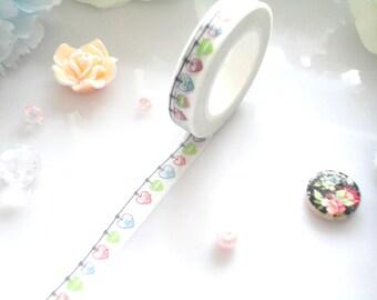 Hearts Bunting Washi Tape Colourful Stationery Masking Deco Tape