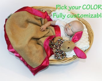 Kangaroo Security Baby Blanket, baby blanket Lovey Blanket, Satin, Baby Blanket, Stuffed Animal, Baby Toy Customize add Monogramming