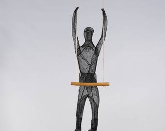 acrobat, black, gymnastics, mens gift, metal wall art, wire mesh sculpture, contemporary art, one piece, unique, collectibles, home decor