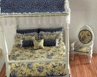 Miniature One Inch Scale Blue and Yellow Canopy Bed with Matching Occasional Chair