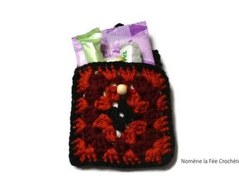 Little mini pocket diary, handmade crocheted storage for towels and tampons.