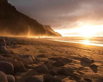 Kalalau Beach, Pacific Ocean Paradise, Hawaii Coast, Remote, Rocks, Mountains, Sea, Sunset, Red, Yellow, Fine Art Photo, polychromatophil