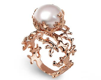 CORAL PEARL Rose Gold Ring, Rose Gold Pearl Ring, Statement Ring, Large Pearl Ring, Unique Pearl Ring, Pearl Engagement Ring