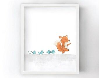 Birds and Fox Nursery Art Print - Woodland Animals Print for Kids Room, Fox Wall Art, Whimsical Nursery