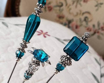 Hat Pins Victorian Antique, Vintage Inspired, Crystals, Glass Beads & Filigree Silver, Strong And Sharp. Beautiful To Collect Or Use!