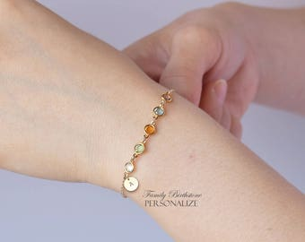 Gift for mom - Birthstone Bracelet with initial, Family bracelet, Personalized Mothers Gift, Grandmother Bracelet, Christmas gift for her