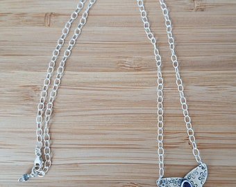 Silver Amethyst Butterfly Necklace