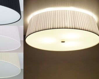 Ceiling Lamp KAMI with Textile lamp shade: White, Black or Ecru in two sizes