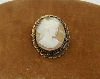 Vintage Carved Shell Cameo Goldfilled Brooch Pendant